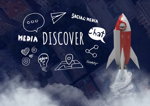 3D Rocket flying over city with Discover text with drawings graphics