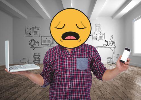 Desperate emoji with his job.