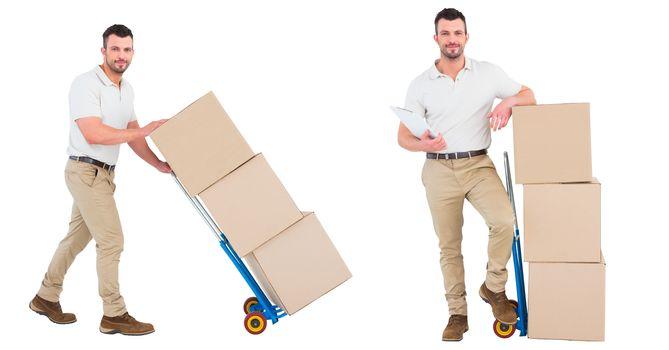 courier men with the wheelbarrow