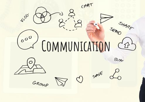 Digital composite of Hand writing Communication text with drawings graphics