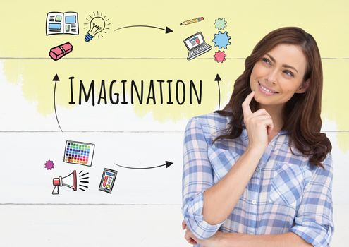 Woman thinking and Imagination text with drawings graphics