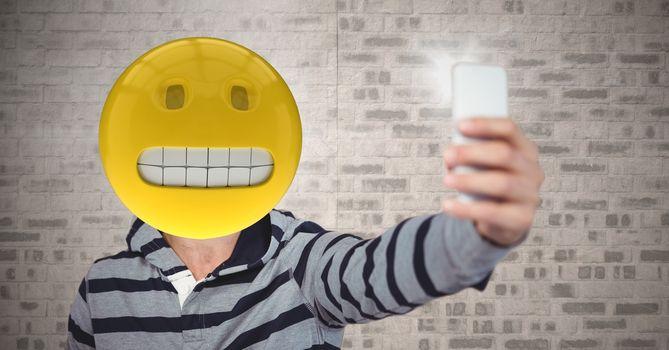Selfie with predicament emoji face