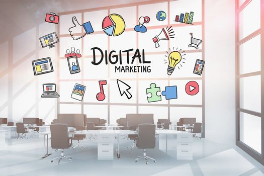 Digital marketing and doodle graphics in office