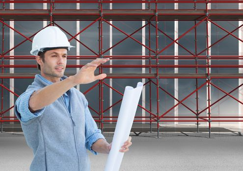 Architects givinig instructions  in front of 3D scaffolding