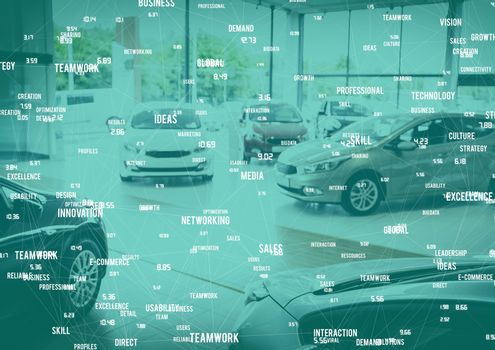Cars on display with white network and teal overlay