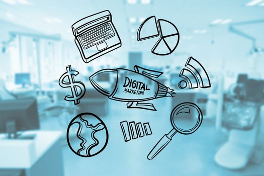 Various icons on glass representing digital marketing