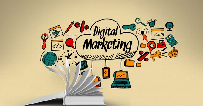 Various digital marketing icons over book