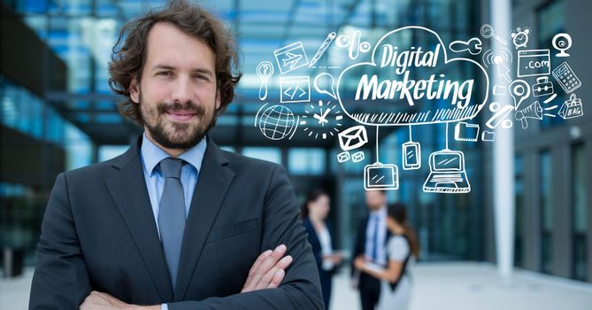 Portrait of confident businessman with digital marketing and graphics