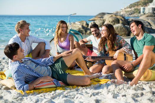 Friends having fun on shore