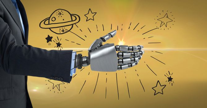 3d image of businessman with robotic hand against symbols