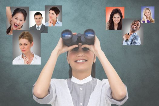 Digital composite image of HR looking at candidates through binoculars
