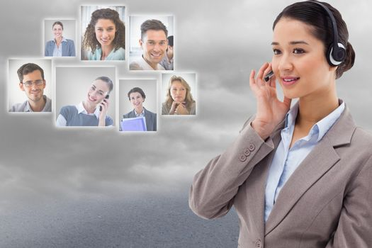 HR interviewing candidates through headphone against sky