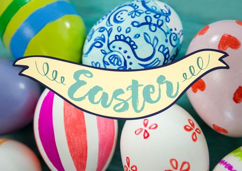 Easter banner against eggs on teal table
