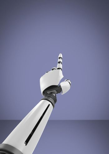 Android Robot hand pointing with purple background