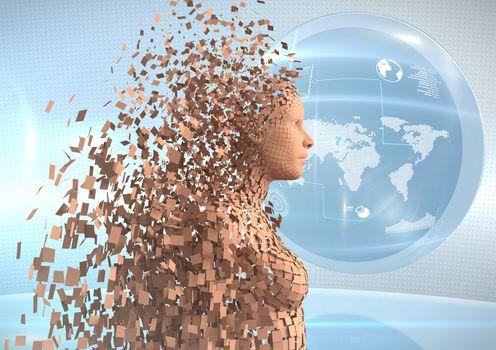 3D orange female AI against globe and flares