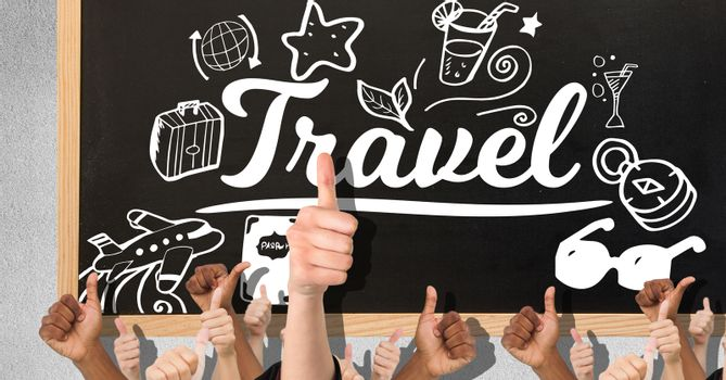 Digital composite of Thumbs up travel on a blackboard