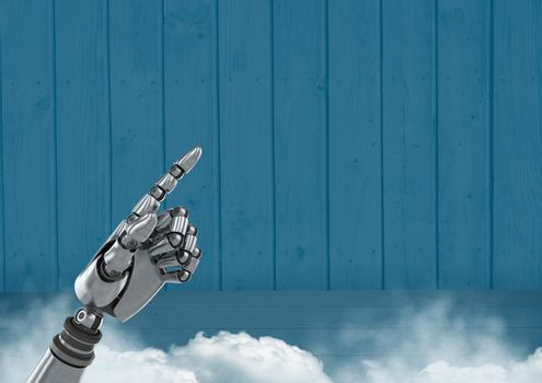 Android Robot hand pointing with blue background
