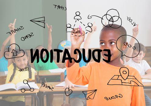 Digital composite of Education graphic in class balckboard