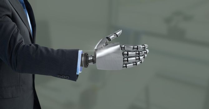 Android Robot hand open with green background