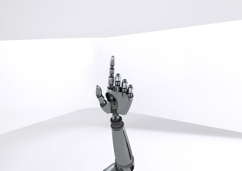 Android Robot hand pointing with bright background