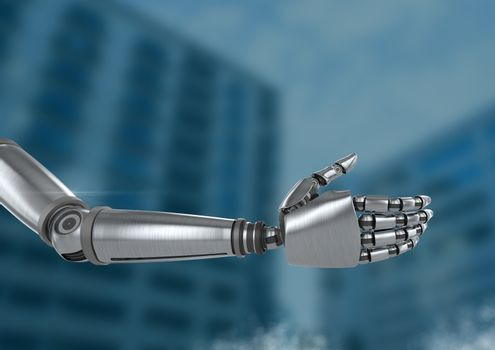 Android Robot hand open with blue background