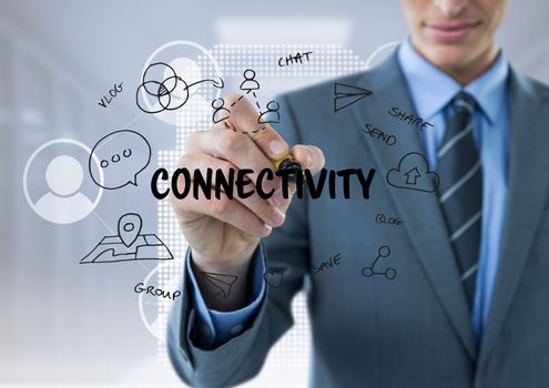 Business men drawing connectivity graphic