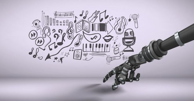 Android hand pointing and music graphic drawings