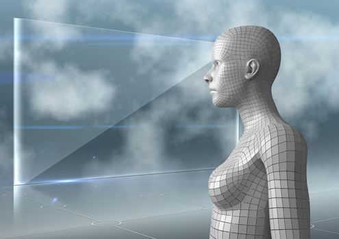 3D white female AI against glass screen and clouds