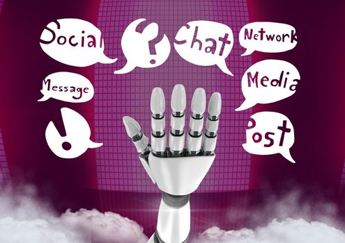 Android hand and social media drawings graphics