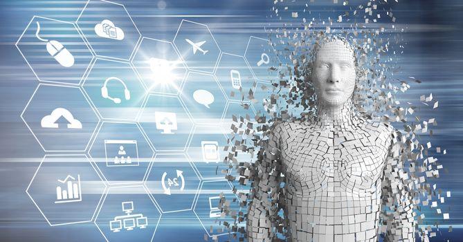 3D white male AI against blue interface