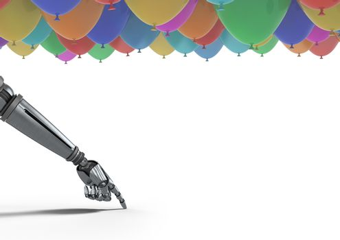 Android hand pointing with balloons