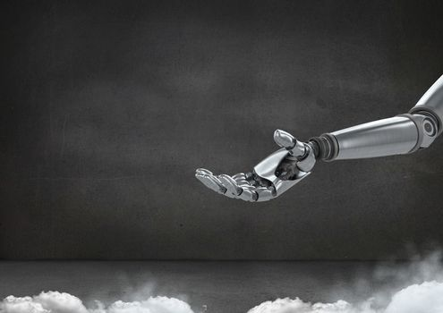 Android Robot hand open with grey background