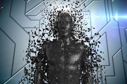 3D black male AI against blue technical pattern