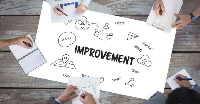 Improvement text by icons and business people on table