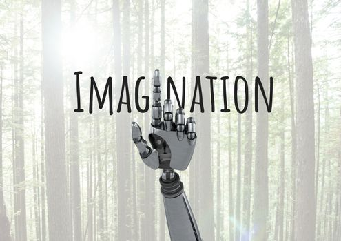 Android hand pointing and Imagination text with forest