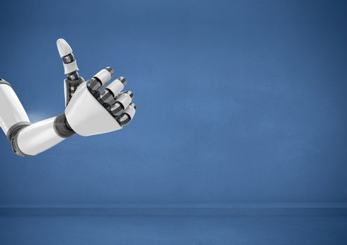 Android Robot hand thumbs up with blue background