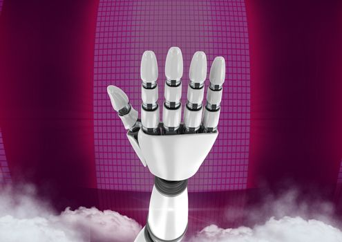 Android Robot hand open with pink background