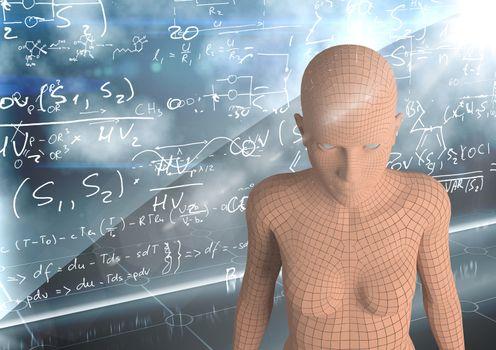 3D orange female AI against wall with math doodles