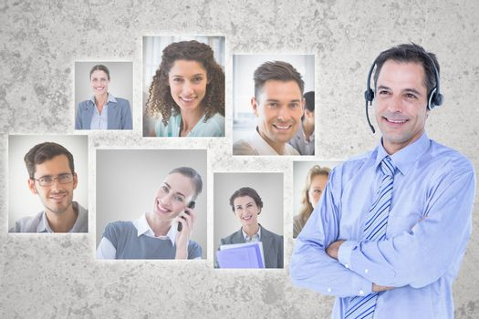 Digital composite image of HR executive wearing headphones by candidates