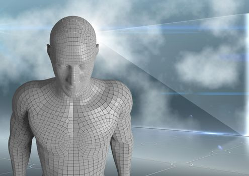 3D white male AI against glass screen and clouds