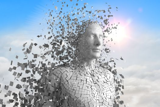 3D white male AI against sky and clouds