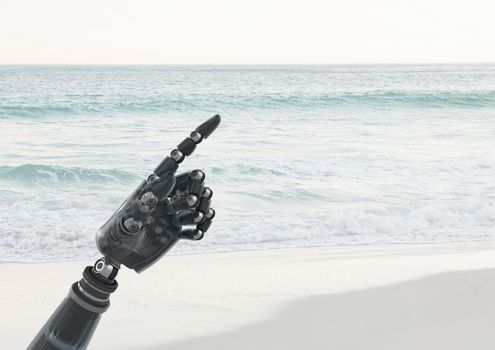 Android Robot hand pointing with sea background