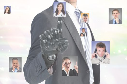 Digital composite image of businessman with robotic hand selecting candidates