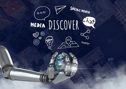 Android hand holding planet earth over city with Discover text with drawings graphics