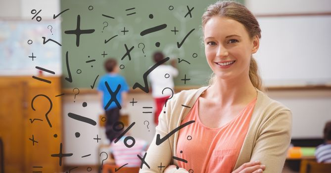 Various mathematical operators with smiling student in background