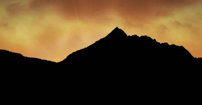 Digital composite of Silhouette mountain against sky
