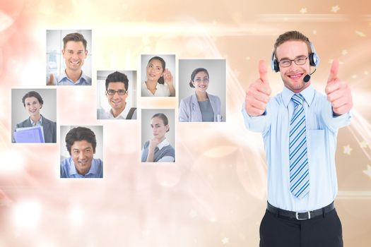 HR representative showing thumbs up by candidates