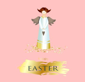 Easter banner. square poster, postcard, background with text happy easter. Angel on a pink background. elegant. Gold brush stroke. Design with realistic objects. Christian religion. Spring.