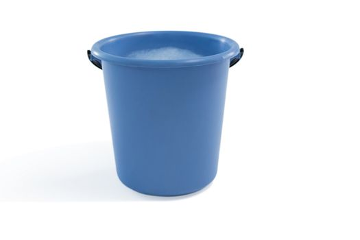 Close up of bucket containing soap sud