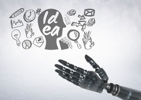 Android hand with idea and business graphic drawings